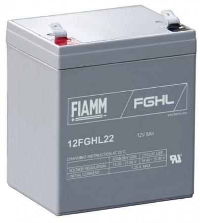 FIAMM 12FGHL22 12V 5Ah  Nagy kisütőáramú ipari zárt (zselés) ólomakkumulátor