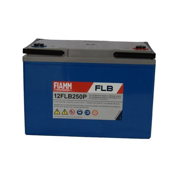 FIAMM 12FLB250P 12V 70Ah Nagy kisütőáramú tűzálló ipari zárt (zselés) ólomakkumulátor