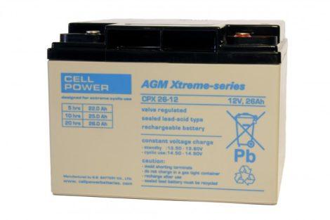 Cellpower CPX26-12 12V 26Ah ciklikus/szolár akkumulátor