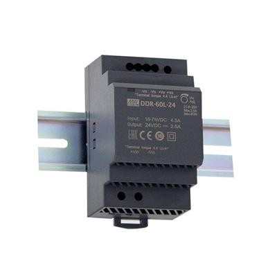 Mean Well DDR-60G-12 1 kimenetű DC/DC konverter; 60W; 12VDC 5A; 4kV szigetelt