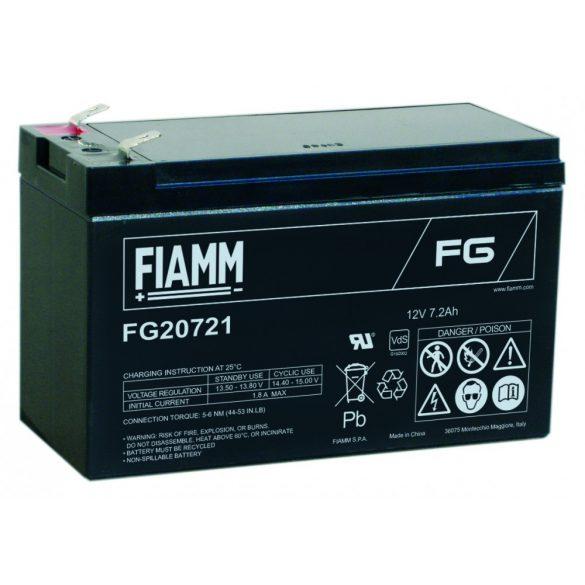 FIAMM FG20721 12V 7,2Ah Ipari zárt (zselés) ólomakkumulátor