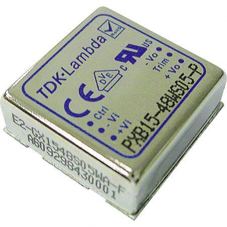 TDK-Lambda PXB15-48D15 2 kimenetű DC/DC konverter; 15W; 15VDC 500mA; -15VDC -500mA; 1,6kV szigetelt