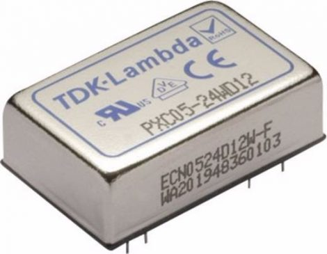 TDK-Lambda PXC05-24WD05 2 kimenetű DC/DC konverter; 5W; 5VDC 500mA; -5VDC -500mA; 1,6kV szigetelt