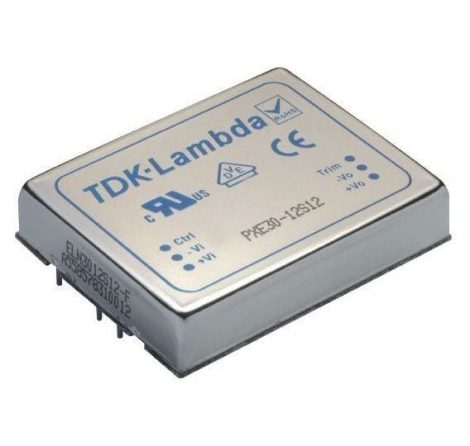 TDK-Lambda PXE30-48S12 1 kimenetű DC/DC konverter; 30W; 12VDC 2,5A; 1,6kV szigetelt