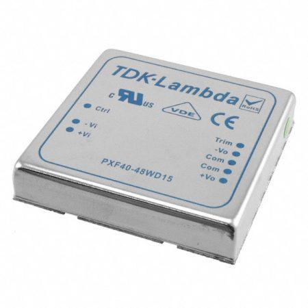 TDK-Lambda PXF40-48D15 2 kimenetű DC/DC konverter; 40W; 15VDC 1,4A; -15VDC -1,4A; 1,6kV szigetelt